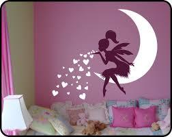 stickers chambre bébé fille fée princesse fille chambre sticker fée sur coeur de lune mur