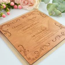 wooden wedding invitations engraved square wooden wedding invitations personalised favours