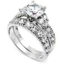 silver wedding ring sets sterling silver wedding ring set with simulated diamond cz