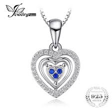 sterling silver wedding gifts jewelrypalace heart created sapphire pendant necklace