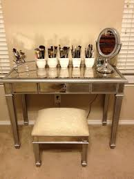 small square bedroom vanity chair with cream pad and silver