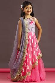 picture of pink u0026 grey color saree style gown half saree 2