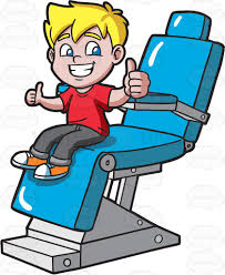 a happy boy after cleaning his teeth at the dentist cartoon