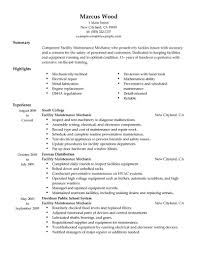 Maintenance Resume Examples Maintenance Mechanic Resume Template Virtren Com