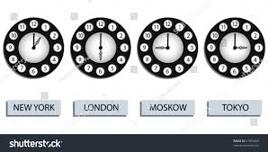 abstract clocks time zone clocks four different countries stock vector 67609348