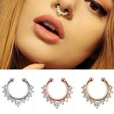 aliexpress nose rings images Women nose rings crystal fake nose ring septum piercing hanger jpg