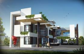 3d ultra modern bungalow exterior day rendering and elevation