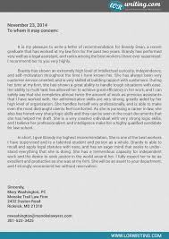 professional law letter of recommendation sample