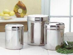 kitchen canisters stainless steel amco brushed stainless steel 3 canister set with glass lids