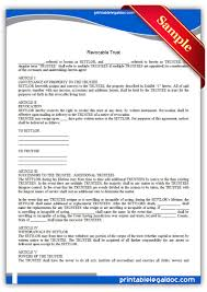 free printable revocable trust form generic
