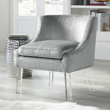 Silver Accent Chair This Modern Accent Chair Features Soft Silver Alligator Print