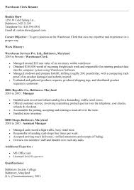 Clerical Resume Template Warehouse Clerk Resume Resume Templates