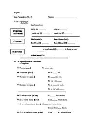 Subject Pronouns Worksheet Direct And Indirect Object Pronoun Worksheet Tpt
