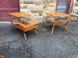 mid century end table mid century end tables with glass shelves attainable vintage