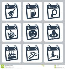 vector calendar icons representing holidays royalty free stock