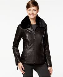 jones new york faux fur collar leather jacket in black lyst