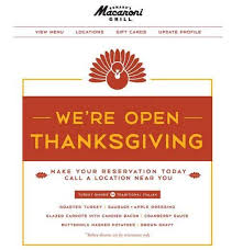 macaroni grill is open on thanksgiving make your reservations now