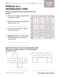 patterns on a multiplication table problem solving 4th 5th