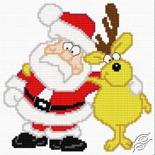 Santa Claus With A Reindeer Free Cross Stitch Pattern Free