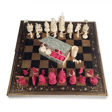 chinese export chess set and jacquet backgammon with lacquer