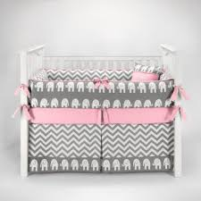 Pink Chevron Crib Bedding Elephant Chevron Zig Zag Gray Pink Baby Bedding 5pc Crib Set