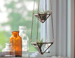 air plant holder mini 3 tiered faceted stained glass hanging
