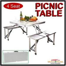 picnic tables folding with seats buy 4 seats portable folding aluminium picnic table online best