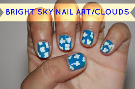 diy easy beginner blue u0026 white nail art without tools sky nail