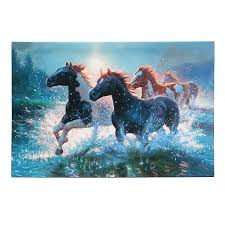 led light up lighted christmas canvas painting river horses wall