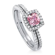 Pink Wedding Rings by Sterling Silver Cushion Pink Cubic Zirconia Cz Halo Engagement