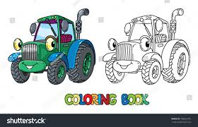 funny small tractor eyes coloring book stock vector 706652701