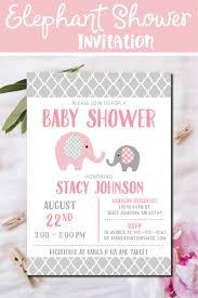 pink elephant baby shower invitation pink gray elephant baby