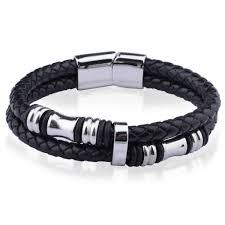 bracelet cuir homme images Bracelet homme cuir tresse noir acier bijouxstore webid 897 jpg