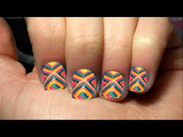 colorful design short nail art with tutorial video
