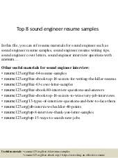 Sound Engineer Resume Sample by Top 8 Site Engineer Resume Samples