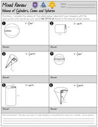 volume cylinder worksheet volume of cylinders cones and spheres mixed review worksheet tpt