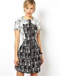 asos asos check zip front t shirt dress