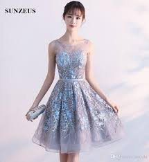 junior high graduation dresses sheer tulle neck see through