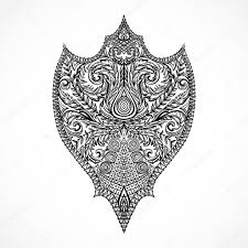 ornate medieval shield vintage floral highly detailed hand drawn