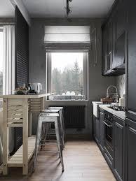 Kitchen Designs With Black Cabinets Modern Small And Narrow Kitchen Design With Black Cabinet White