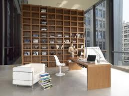 modern bookshelves in living area