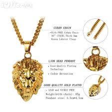 free gold necklace images Unisex 18k gold lion head pendant chain hiphop necklace for sale jpg