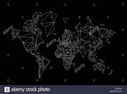 World Map Black And White Black And White World Map Low Poly Illustration Stock Photo