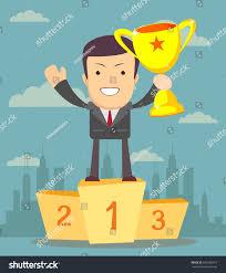 businessman holding winner s cup stock stock illustration