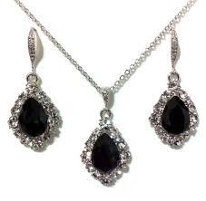 halloween jewelry set black swarovski earrings cz necklace