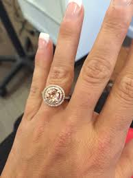 gold and morganite ring show me your gold halo morganite rings weddingbee