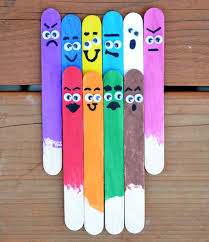 colorful popsicle sticks craft stick puppets pinterest craft