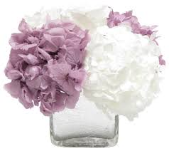 white floral arrangements cracked glass cube white hydrangea lavender and white