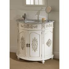 curved carved white wooden vanity with grey top and round white
