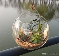 Round Glass Vase Hanging Glass Air Plants Indoor Wall Glass Vase For Home